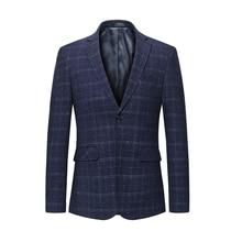 Fashion Plaid Blazer Men Slim Plus Size 5XL 6XL Business Casual Slim Fit Male Party Wedding high quality Elegant Suit Jacket