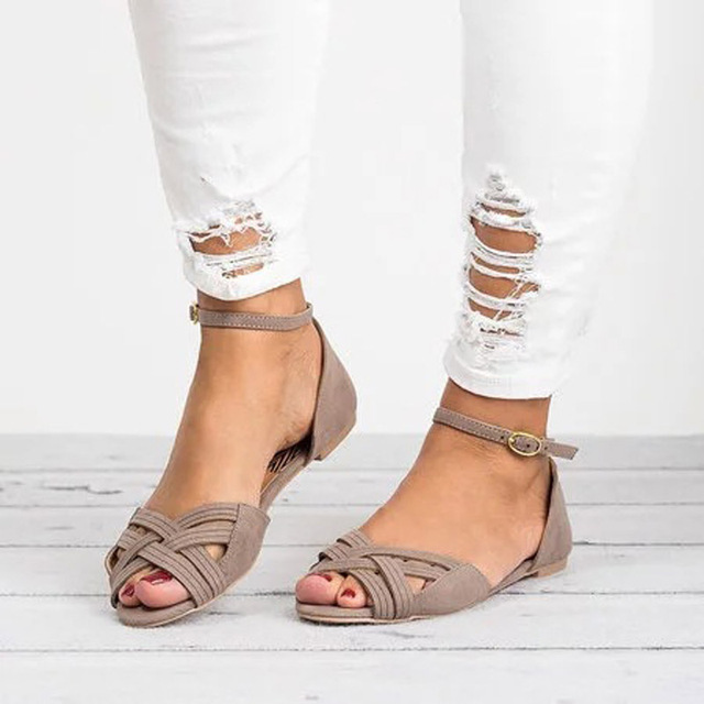 Women's Sandals 2019 Summer New Shoes Woman Open Toe Cross-Knit Flat Sandals Plus Size 34-43 Ladies Slippers Zapatos De Mujer