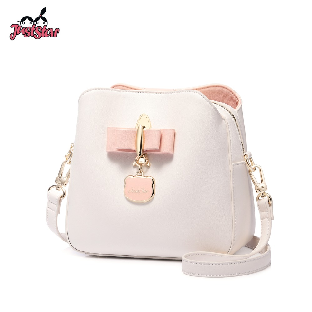 JUST STAR Women s Leather Messenger Bags Ladies Fashion Rocket Shoulder  Purse Female Tassel Bow Bucket Crossbody fca6c7e048fb8