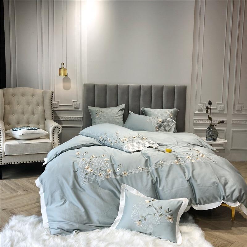 4 7Pcs Queen King size Egyptian Cotton Green Bedding Set Bed sheet Duvet Cover Bed set