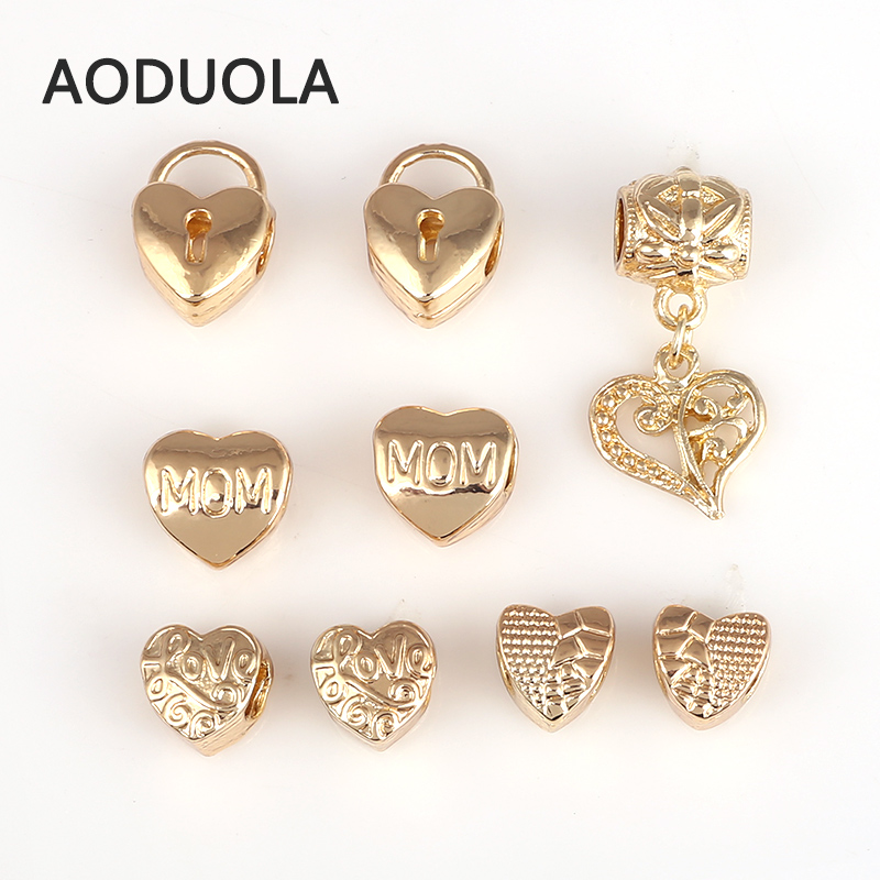 9 Pcs Mix heart MOM and Love Heart Series Beads Gold Color Alloy Big Hole DIY Spacer Bead Charm Fit For Pandora Charms Bracelet