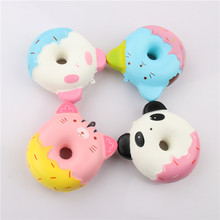 10CM Jumbo Kawaii Cute Squishy Panda/kitty Donut Bread Cream Scented Super Slow Rising Cartoon Cake Phone Strap Squeeze Toy Gift(China)