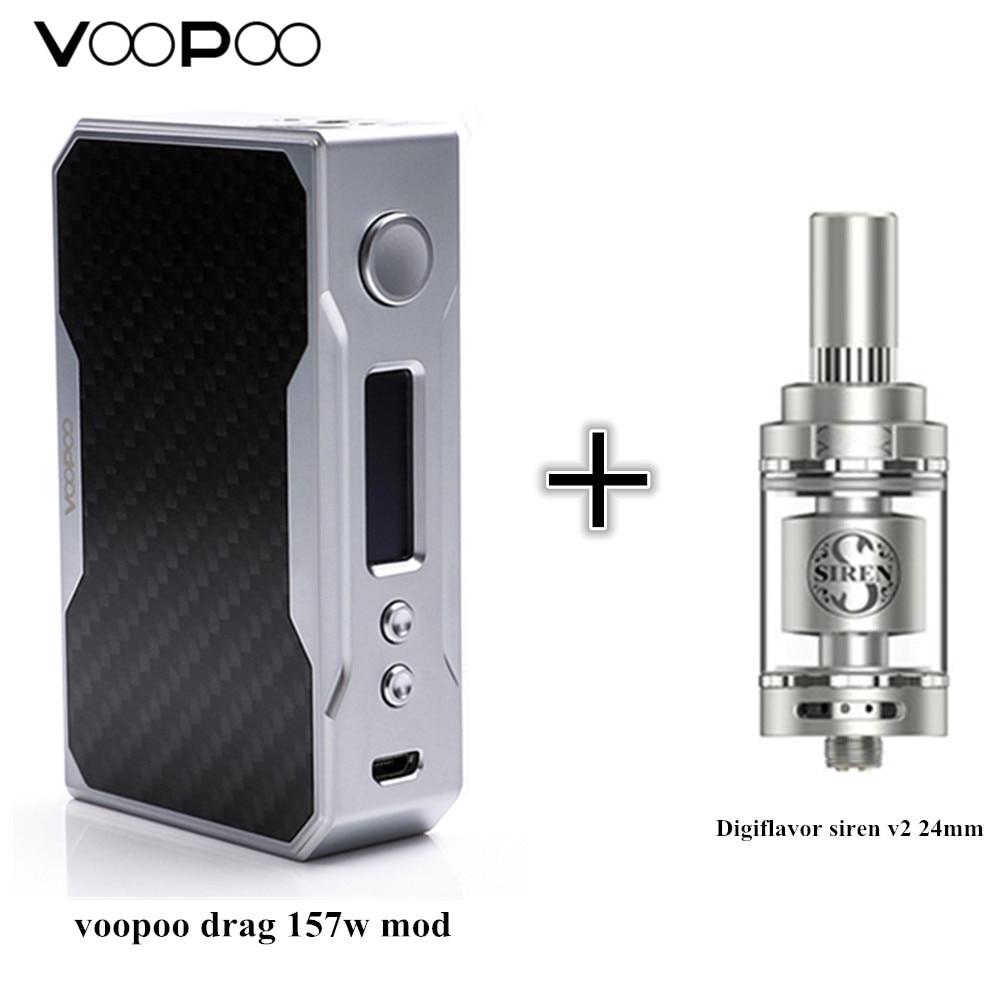ariginal voopoo drag 157w mod and Digiflavor Siren V2 GTA MTL Tank 24mm Version 4.5ml electronic cigarette full kit vape ecig