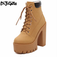 Autumn And Winter Platform Ankle Boots For Women Lace Up Thick Heel Martin Boots Ladies Worker
