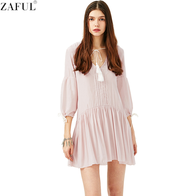 2586e545836 ZAFUL 2017 Women Loose Bohemian Casual Dress Solid Color Tassel Neck Dress  Feminino Vestidos de festa