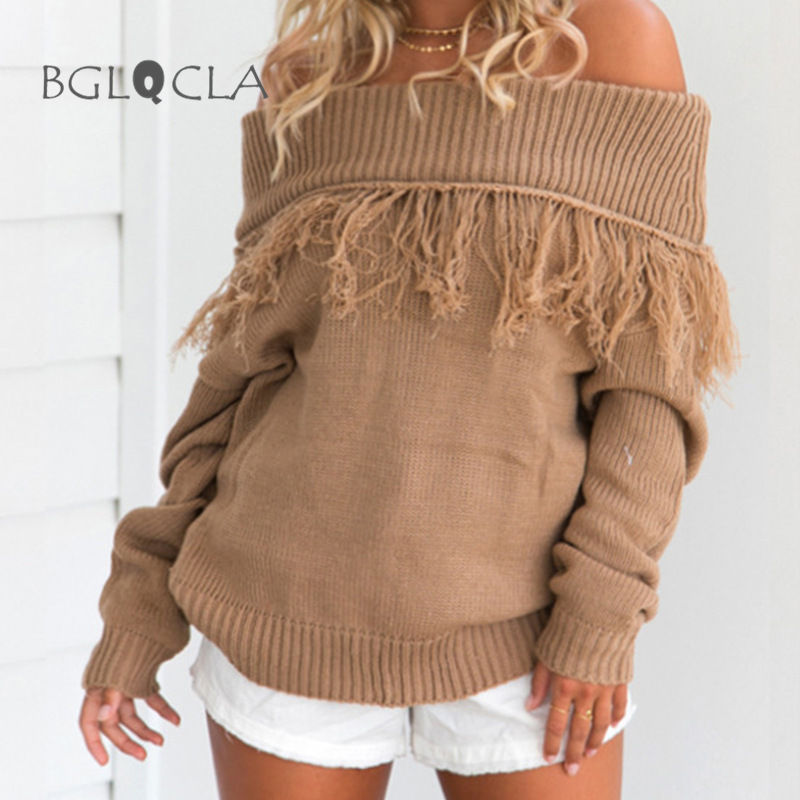 Winter Off Shoulder Sweater Women Fashion Knitted Tassel Pullovers Streetwear Jumpers Womens Sweaters Tops Jumper Christmas
