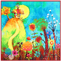 Super Large Twill Silk Women Scarf Plant Flower Oil Painting Print Square Scarves 100*100 High Quality Gift Fashion Silk Shawls