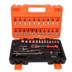 46 pçs/set Conjuntos de Ferramenta de Reparo Do Carro Catraca Soquete Spanner Chave de Torque Ferramentas de Combinação Kit Com Caixa Frete Grátis Durável