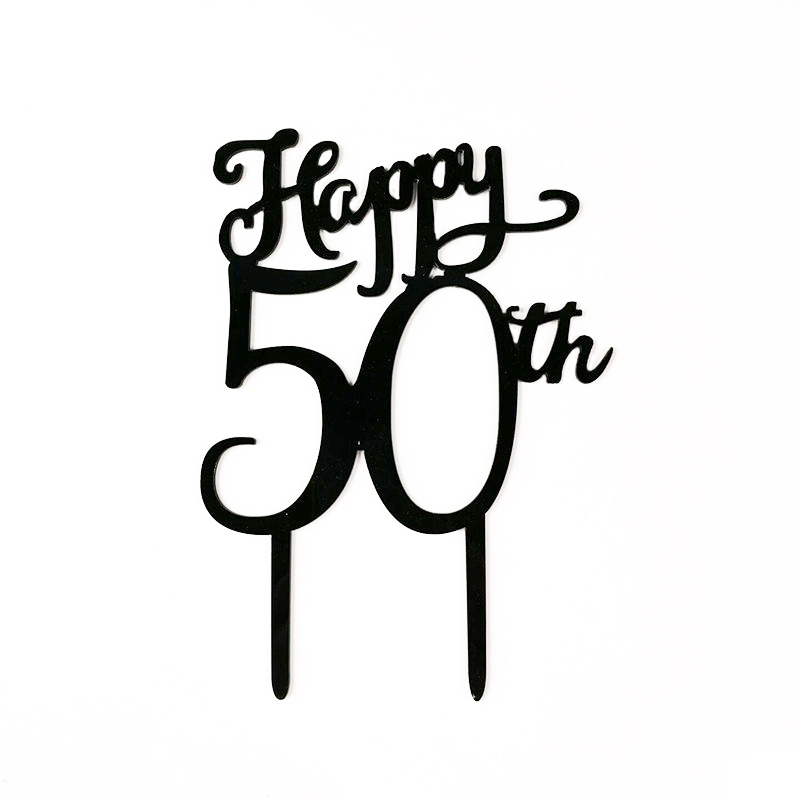 Leeiu 1 Pc Happy 50th Birthday Cake Topper Acrylic Stand Cupcake Picks For 50 Event Party Supplier In Decorating Supplies From Home