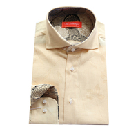 Beige LINENE With Contrast Abstract Floral For Under Collar Cuff Man S Artist Fahion Shirt Tailor