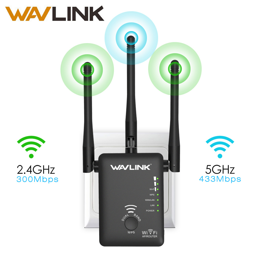 Wavlink AC750 Wireless Wifi Extender/Repeater/Router Dual Band Wifi Range Extender Signal Amplifier With 3 External Antennas WPS