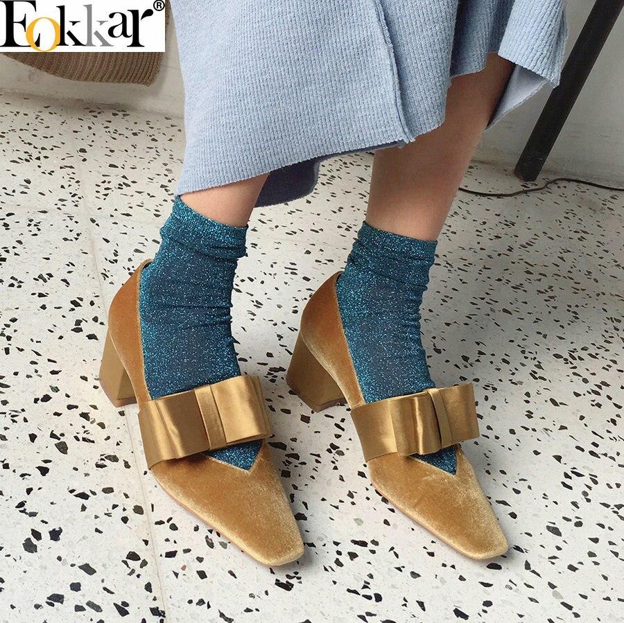 Eokkar 2019 Women Gold Velvet Med Heel Pumps Square Toe Gold Dress Shoes Classic Bow Tie Slop On Party Wear Shoes Size 34-39