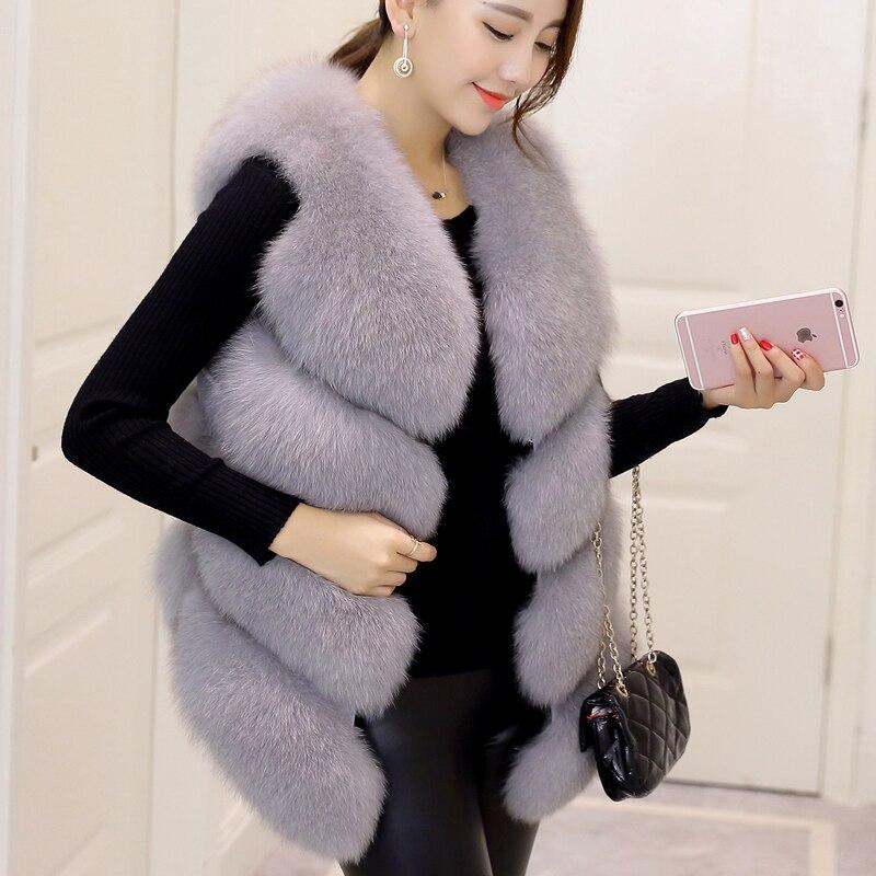 Automne hiver nouvelle mode femmes sans manches gilet en fausse fourrure Slim convient européen Hi Street fausse fourrure Casaco coloré