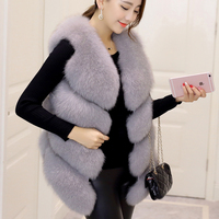 Autumn Winter New Fashion Womens Sleeveless Faux Fur Vest Slim Fits European Hi Street Faux Fur Casaco Colored