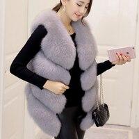 Autumn Winter New Fashion Womens Sleeveless Faux Fur Vest Slim Fits European Hi Street Faux Fur Casaco Colored