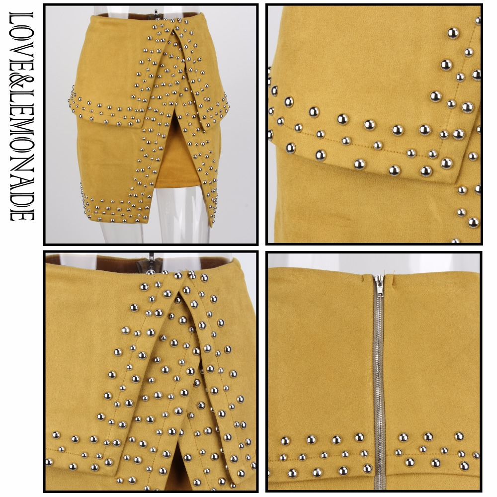 Love&Lemonade Street Yellow Leather Imitation Material Liu Nail Decoration Cut Out Skirt  Lm0596 by Love&Lemonade