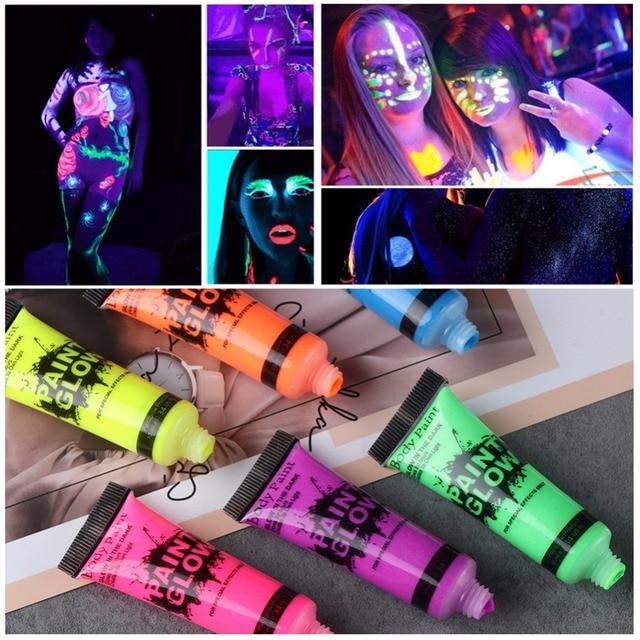 Pintura corporal brillo en la oscuridad pintura Peinture fosforescente maquillaje luminoso pigmentos tatuaje Zwarte Henna Color Festival TSLM2