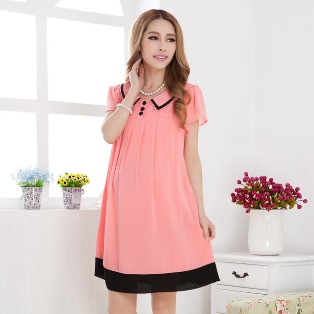 4a9ea9fa381 Ropa de maternidad del verano de la moda Coreana embarazada vestidos de  cuello vuelto ropa embarazadas