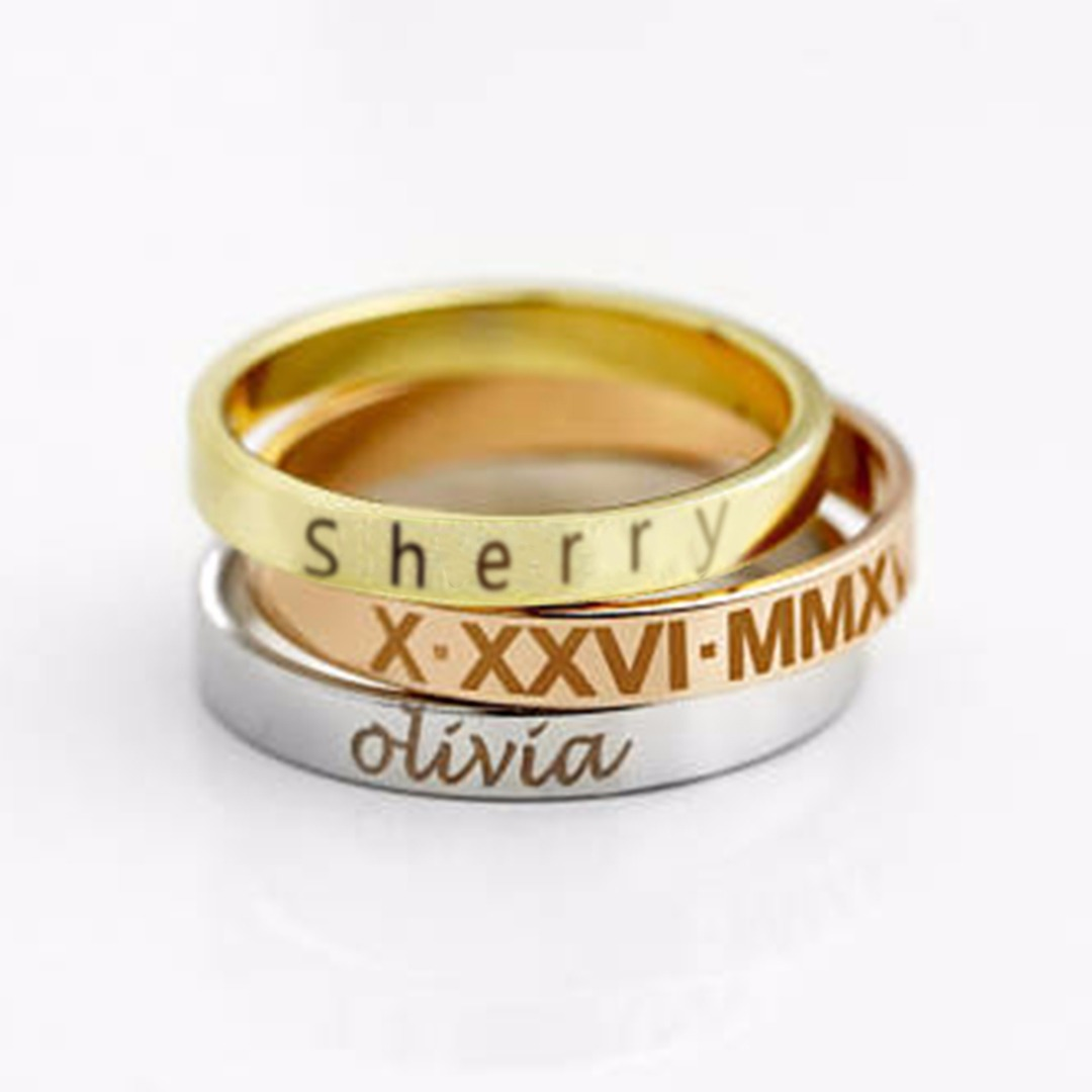 ... Mens Stainless Steel Engraved Name Date Ring Personalized Custom DIY  Jewellery Finger Ring Anillos Mujer Birthday Gift Shellhard 829b53ba9542