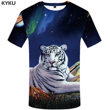 KYKU Brand Tiger T-shirt Galaxy Shirt Funny T Shirts Oversized Tshirt Streetwear 3d Men 2018 Summer Mens Clothing New