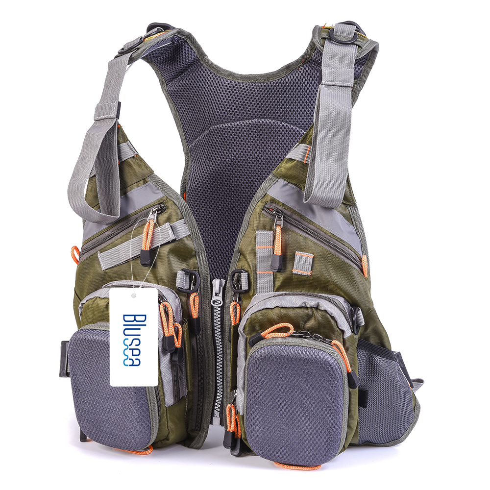 Blusea 2 in 1 Fishing Life Vest Outdoor Water Sports Swimming Safety Life Jacket Survival Utility