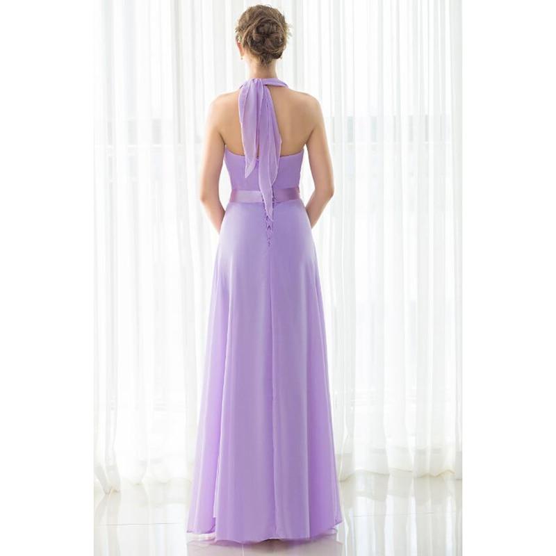 SHAMAI étage longueur licou robes de demoiselle d'honneur robe de mariée en Stock violet clair mousseline de soie à lacets nouvelles robes de demoiselle d'honneur - 4