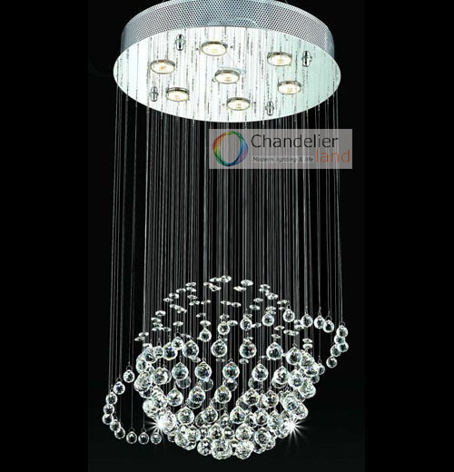 7 Lights W19 X H31 5 Modern Planet Clear Crystal Chandelier Spherical Pendant Lamp Rain Drop Design Flush Mount Lighting In Chandeliers From