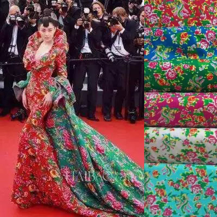 Buy movie party long wedding dress fabric flower pattern for Wedding dress material online