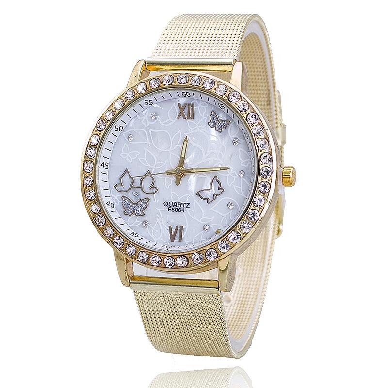 Vansvar Fashion Gold Women Wrist Watch Butterfly Lady Dress Quartz Watch Reloj Mujer Relogio Feminino Clock Drop Shipping BW527 relogio feminino dourado reloj mujer