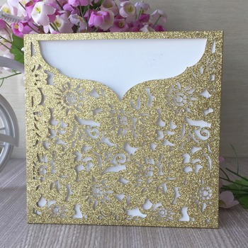 30pcs Laser Cut Invitation Card Hollow Out Flower Pattern Wedding Invitations Party Favor Greeting Blessing Card