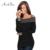 ArtSu Mulheres Barra Pescoço Camisa T 2017 Sexy Fora Do Ombro Zipper Tops T-shirt Plus Size Fino Bodycon Manga Longa Blusa Top ASBL20021