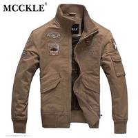 2015 New Spring Mens Air Force 1 Military Style Bomer Jackets Cotton Letterman Jacket Slim Fit