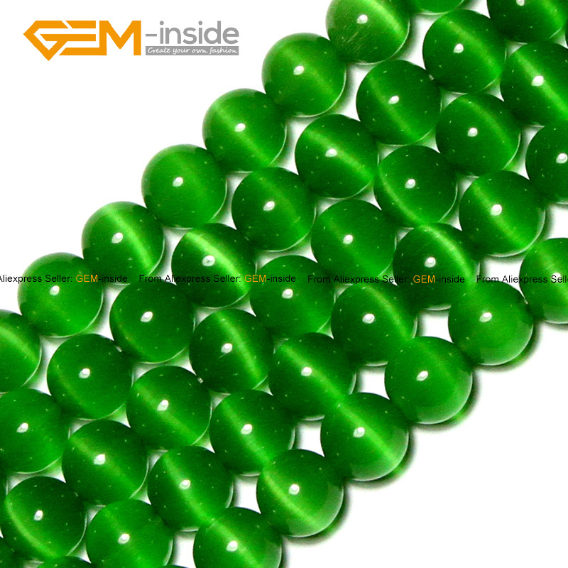 Gem-inside Round Cat Eye Green Glass Beads For Jewelry Making Bracelet Necklace Earring 4-12mm 15inches DIY Jewellery