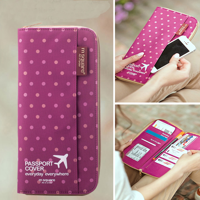 Travel Wallet Document Passport Holder Organizer Cover on The Passport Women Business Card Holder ID Blue Pink