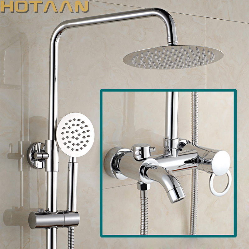 Free shipping 1 Set Bathroom Rainfall Shower Faucet Set Mixer Tap With Hand Sprayer Wall Mounted Chrome Copper YT-5335 bathroom shower set faucet chrome finish abs head shower handheld sprayer brass mixer tap shower faucet