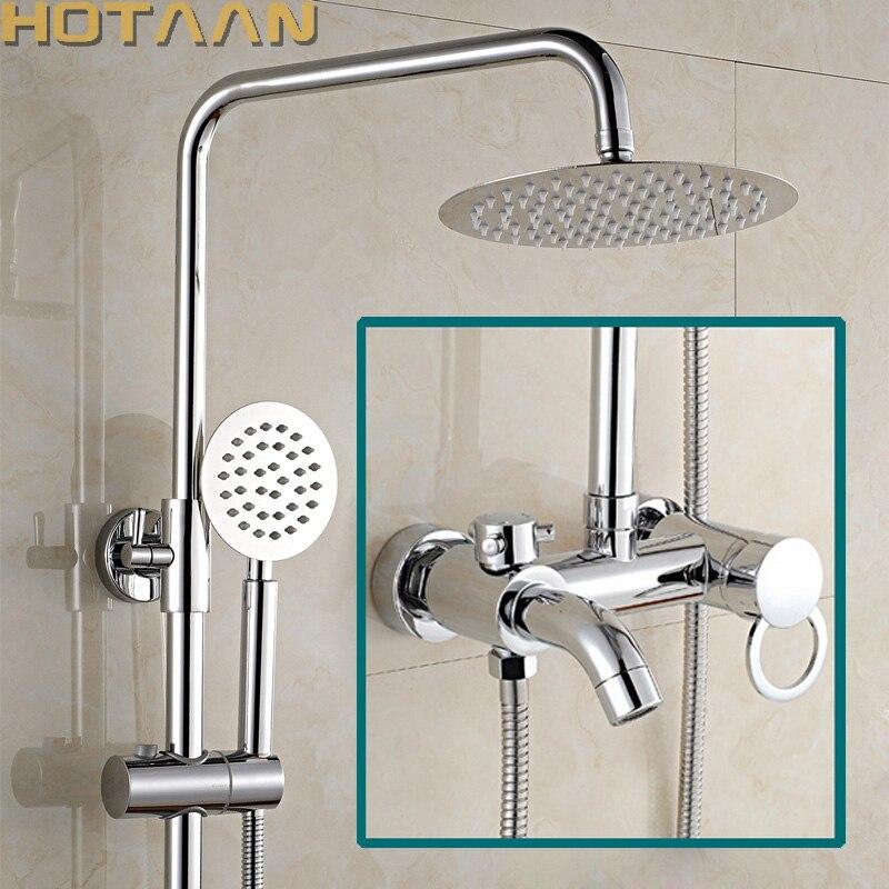 Livraison gratuite 1 ensemble salle de bains pluie douche robinet ensemble mélangeur avec pulvérisateur à main mural Chrome cuivre YT-5335