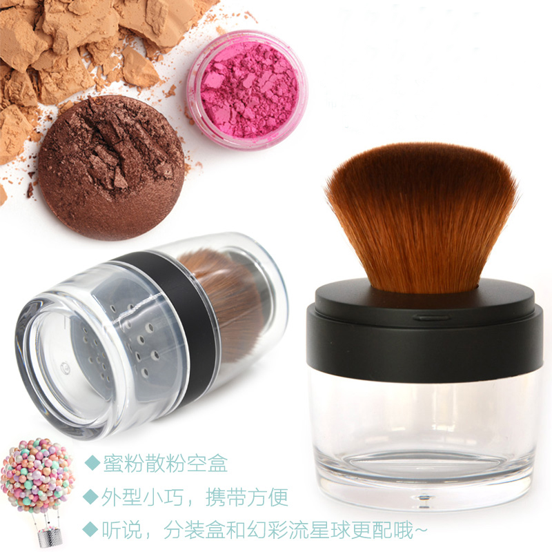 1pcs empty loose powder jar with sifter with brush and mirror Cosmetic plastic powder compact Makeup case Travel subpackage Box 200pcs x 200g big frosted abs plastic cosmetic packaging bath salt jar with wooden spoon