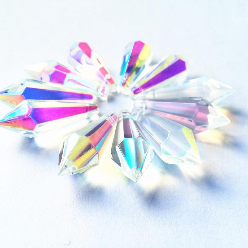 K9 Хрустальная люстра подвески призмы(бесплатное кольцо) многоцветная огранка и граненое стекло 36 мм u-сосулька капли для украшения торта - Цвет: AB