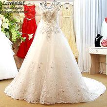 Dubai Sexy Luxury Ball Gown Lace Beaded Crystal Diamond Wedding Dresses 2016 V Neck Long Bridal Gowns vestidos de novias XW114
