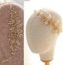 Jonnafe сусальное золото волос лоза Тиара rhinestone Свадебный повязка Свадебные Женские аксессуары для волос ювелирные изделия ручной работы, хрустальные Головные уборы