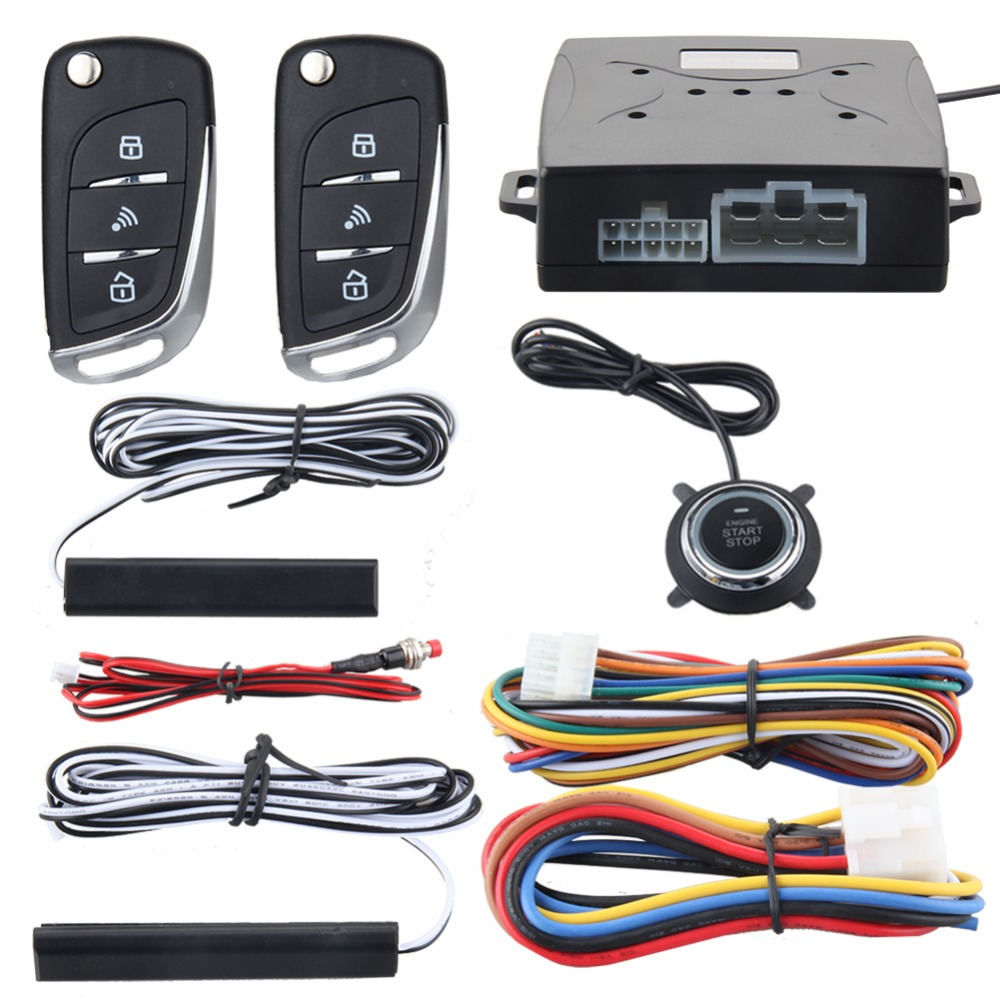 купить EASYGUARD Car security alarm system with PKE passive keyless entry remote lock remote engine start stop keyless go system DC12V онлайн