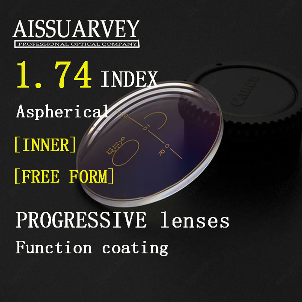 1 74 Index Aspherical Free Form Progressive Clear Lenses Transparent Multifocal Bofical Top Quality Thin Optical