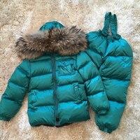 Детская одежда Зимний пуховик для девочек и мальчиков детские теплые куртки Зимний костюм для малышей, верхняя одежда + ползунки Костюмы ко