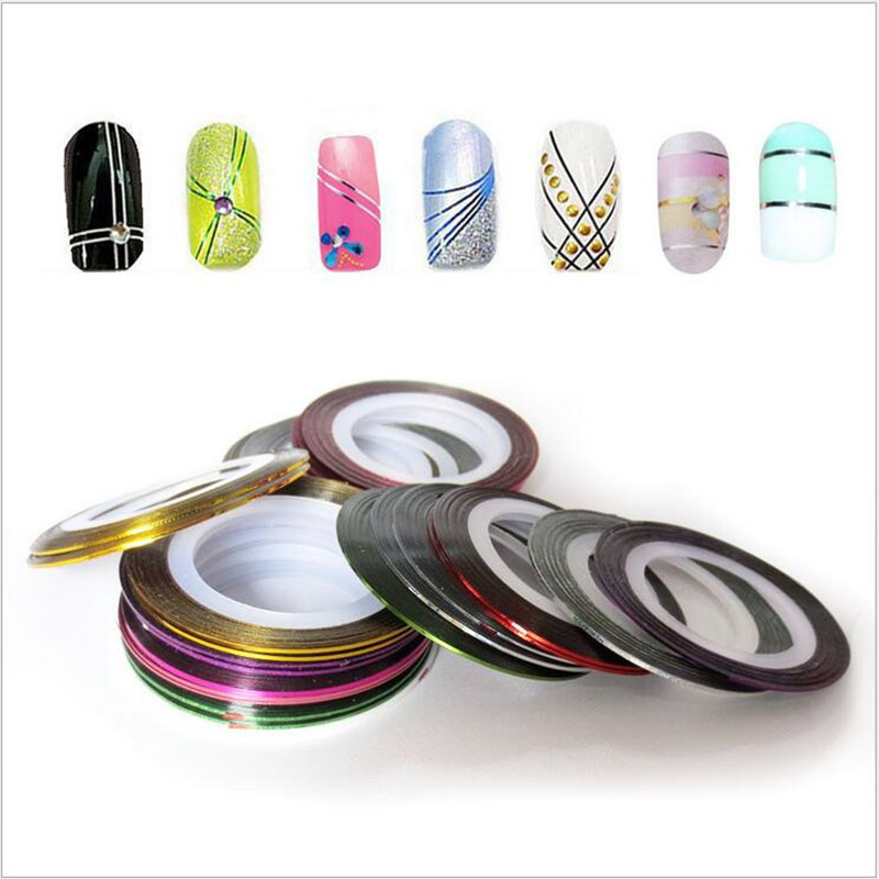 35 Rolls Mixed Color Nail Striping Tape Decal For DIY 3D Variety Nail Art Tips Decorations Nail Line Foil nail Sticker 30pcs pack 2m mixed colors rolls 3d striping tape line diy nail art decoration sticker uv gel polish tips metallic yarn decal