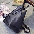 European And American Style Buttons Zipper Solid Black Foldable Backpacks PU Leather Female School Bags Teen Girl Mochila Women