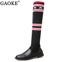 Luxury Brand Socks Boots Women Over The Knee High Boots Autumn Winter Knitted Shoes Long Thigh