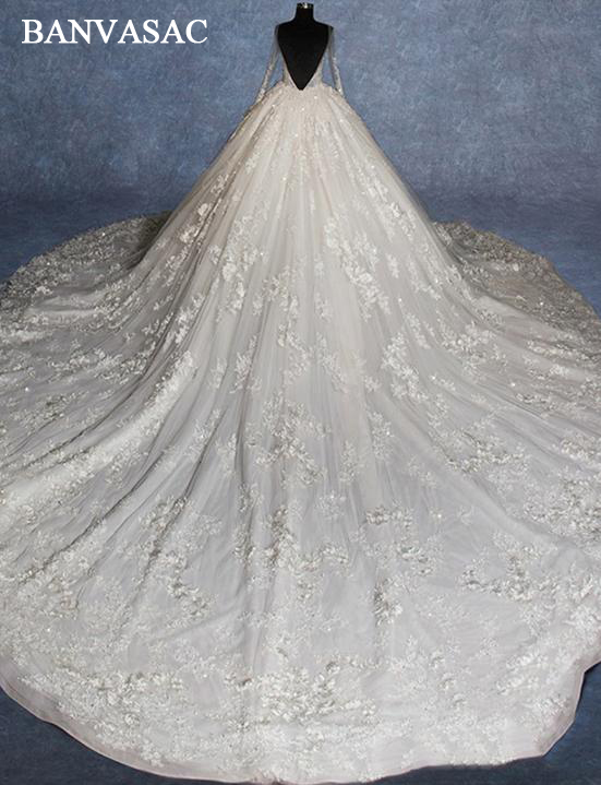 BANVASAC Real Photos V Neck Ball Gown Wedding Dresses Long Sleeve 2018 Plus Size Lace Appliques Cathedral Train Bridal Gowns
