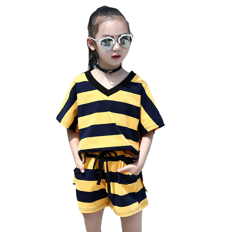 2018 Girls Summer Clothing Sets Cotton Striped Kids Clothes Short Sleeve+Pants 2Pcs Children Outfit Suits 4 6 8 10 12 14 Years girls tops cute pants outfit clothes newborn kids baby girl clothing sets summer off shoulder striped short sleeve 1 6t