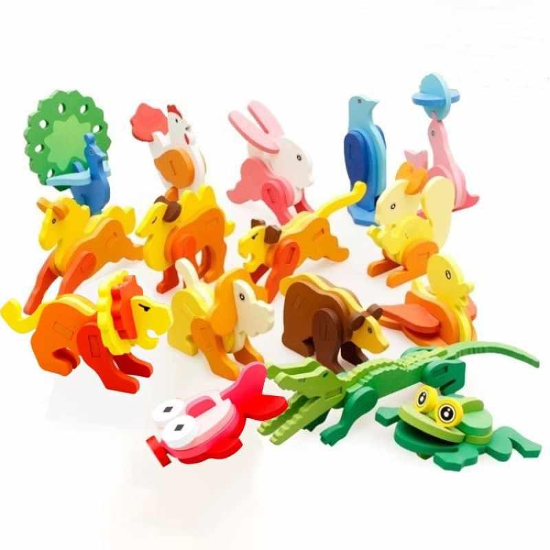 3D Kawaii בעלי החיים עץ חידות גיאומטרי צורת קריקטורה פאזל כלב ארנב חינוכי DIY צעצועים לילדים פאזל יום הולדת מתנות