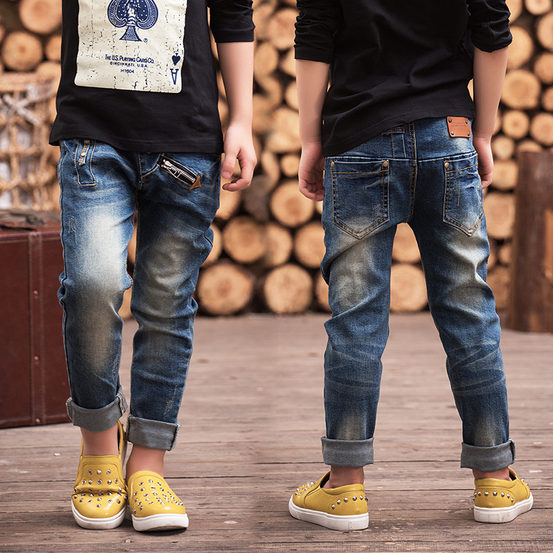 Autumn 2018 children's clothing boys denim trousers spring male child big boy jeans pants kids slim personality pencil leggings guoran holes ripped jeans pencil pants women s high strech slim denim jeans leggings 26 32 femme pantalon light blue trousers